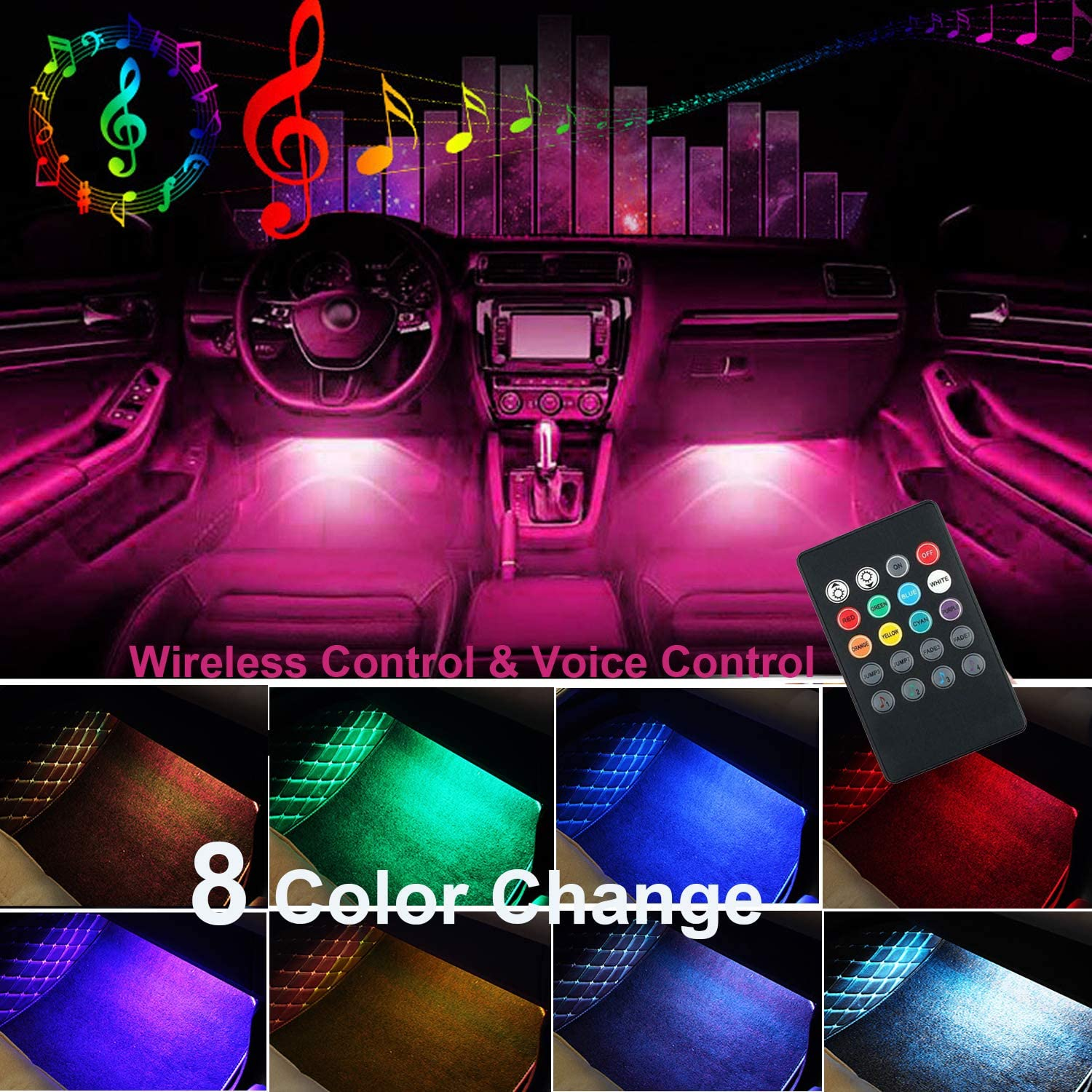 USB Port Multi-Colors with Sound Active Function,with USB Port and Remote Control for Car//TV Backlight//DIY Home Decorations Car Interior Led Strip Light,HUAYT 4PCS 48 LED Automotive light kits