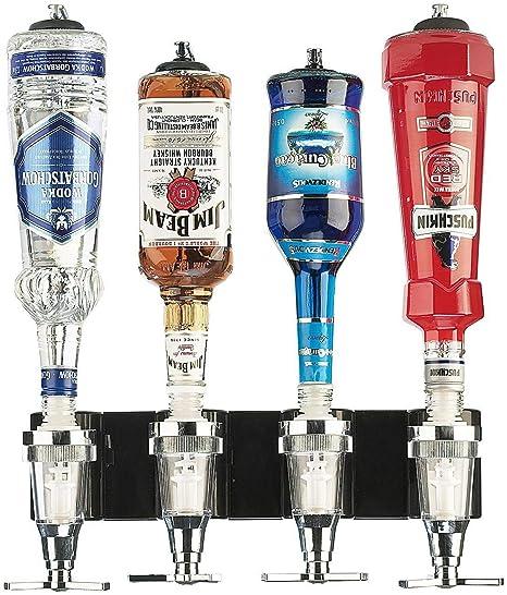 Monsterzeug Bar Butler mit Wandhalterung für vier Flaschen, Schnapsspender - Flaschenhalter, Getränkeportionierer, Dosierer W