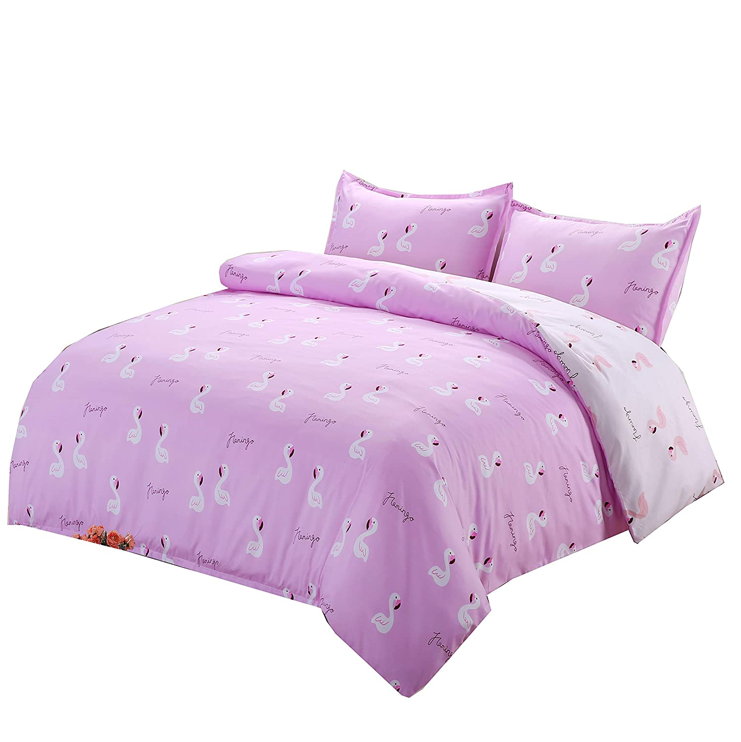 Moliy Duvet Cover Set Breathable Reversible Pink Animals Swan Ultra Soft Microfiber Bedding, Full/Queen (90