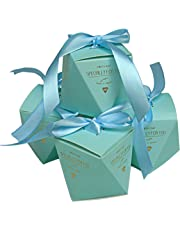 Lontenrea 50 Pcs Candy Boxes Wedding Birthday Party Favors Gift Box with Blue Ribbon Decoration (Blue)