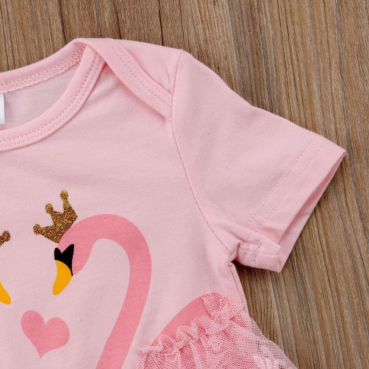 Carolilly Pagliaccetto Neonata in Tulle Body Bambina in Pizzo Stampa Cigno a Manica CortaTutina Neonata Principessa