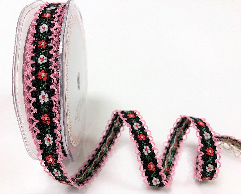 12/mm color de la base: negro Presentado en una cinta de Berties Bows 2/m de longitud Cinta con bordado de flores rojas y blancas