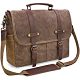 Mens Messenger Bag 15.6 Inch Waterproof Vintage Genuine Leather Waxed Canvas Briefcase Large Satchel Shoulder Bag Rugged Leat