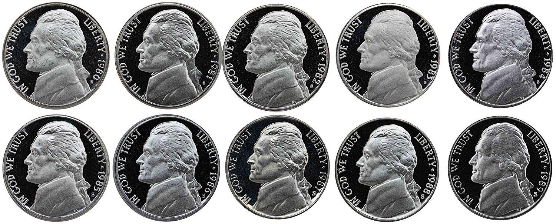 1970-1979 S Roosevelt Dimes Gem Proof Run 10 Coins US Mint Decade Lot Complete 1970s Set