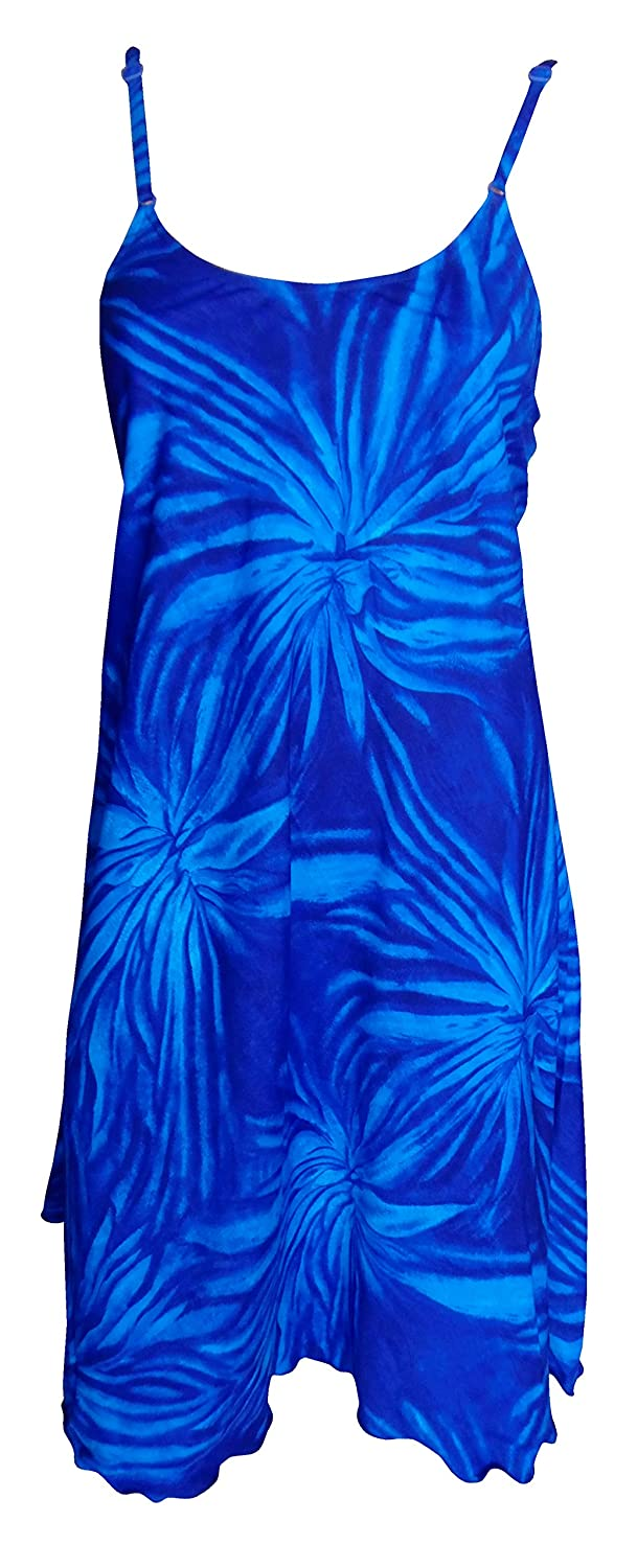 Sunrose Blue Self Printed Beach Swim Sundress Tunic