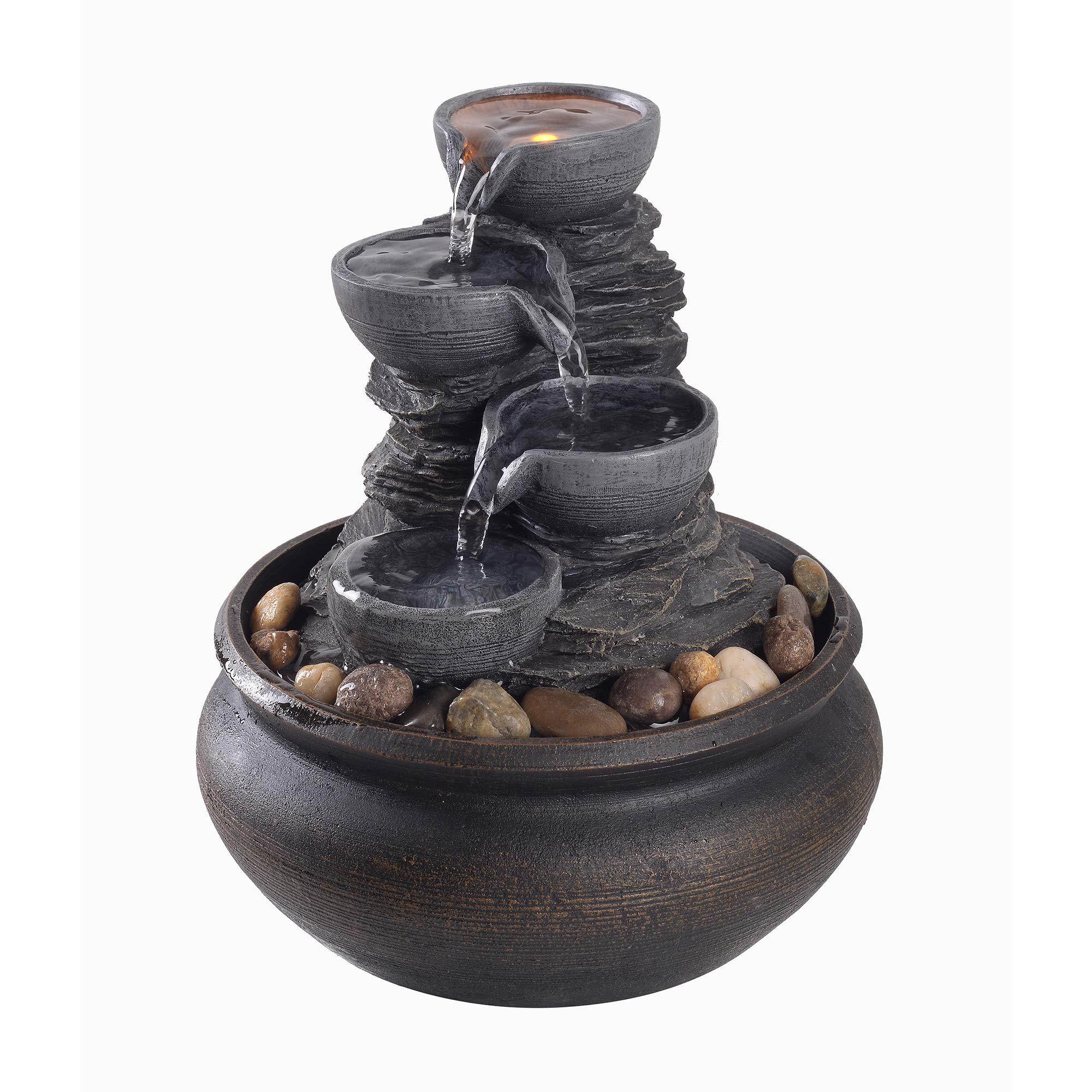 Peaktop Tabletop Water Garden Zen Fountain with LED Light, 5.9'' Height, Stone Grey