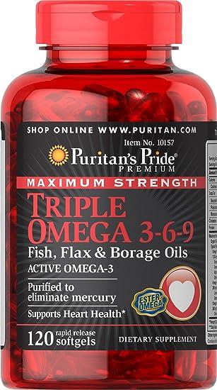 Triple Omega 3-6-9 120 perlas 3000 mgr. Puritans Pride 1 und.: Amazon.es: Salud y cuidado personal