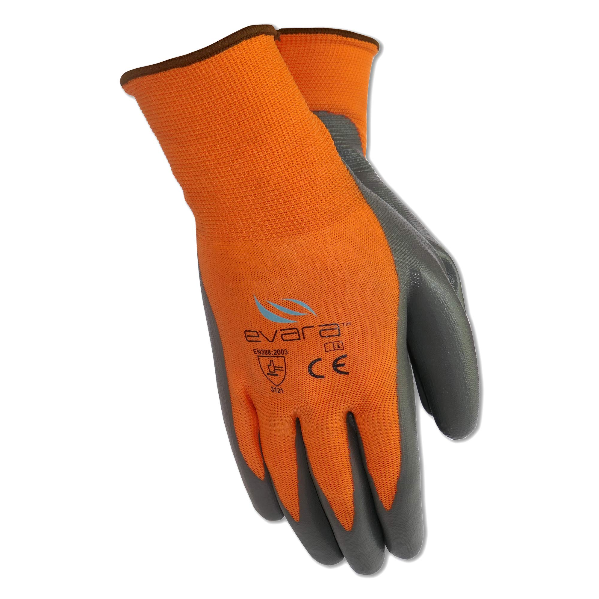 Tough Work and Gardening Gloves for Men and Women(12 pairs per pack) (Latex, Medium) Supreme Hi-vis orange with full thumb dipping by Evara