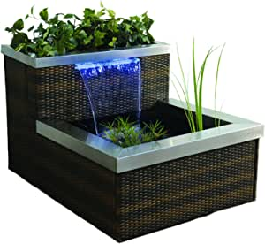 Geo-global Partners Pond Boss PPRIBRB45 Brown Rattan Illumifalls with Led Light, Blue