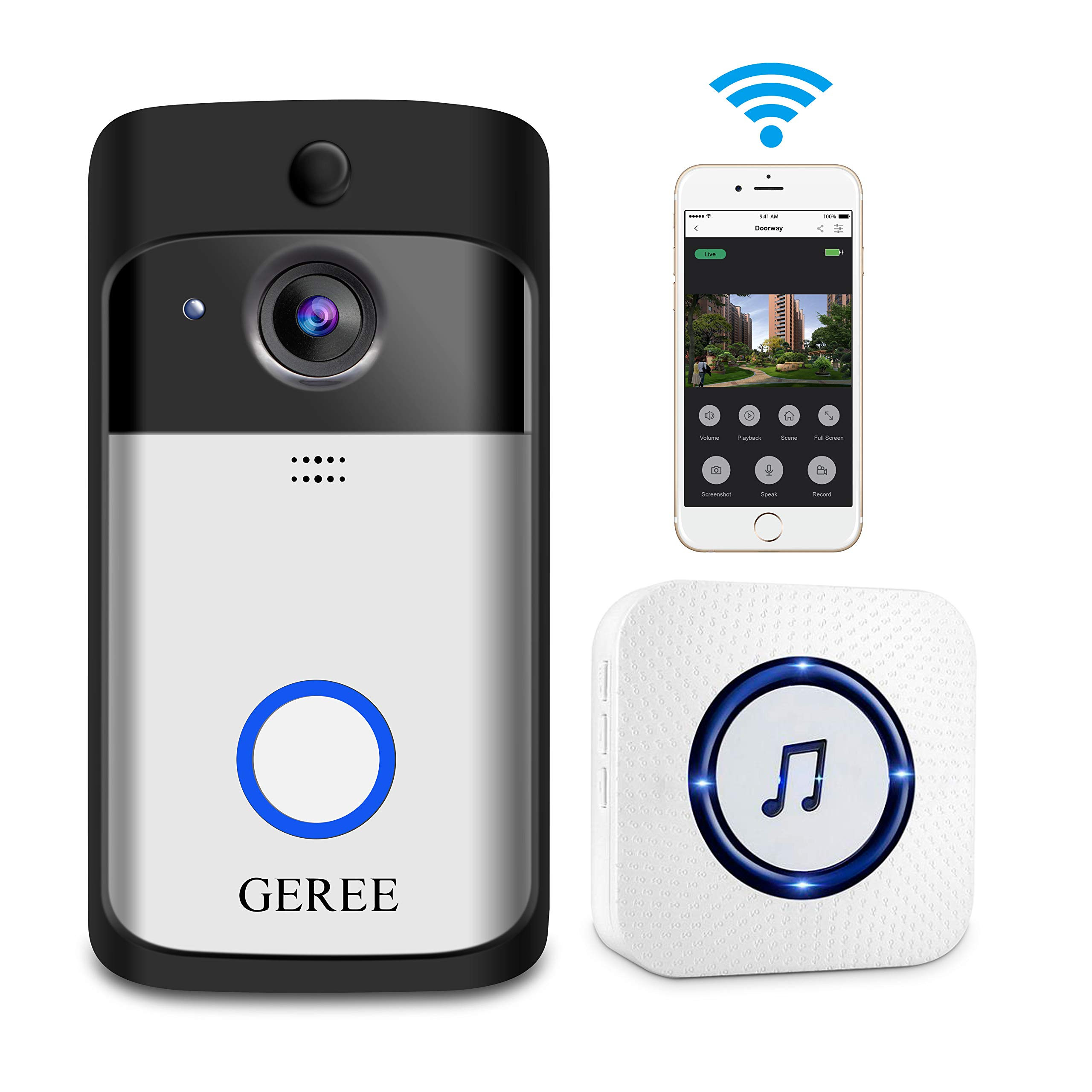 Video Doorbell, GEREE WiFi Smart Wireless Doorbell 720P HD Security Home Camera Real-Time Video and Two-Way Talk, Night Vision, PIR Motion Detection App Control for iOS and Android