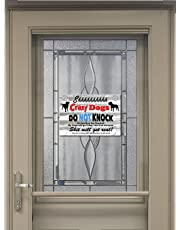 Shhhhhhh Crazy Dogs! Funny New 9X6 High Quality Aluminum Pet Dog Warning Sign with suction cups for easy installation. Ships from Cornwall, Ontario, Canada.