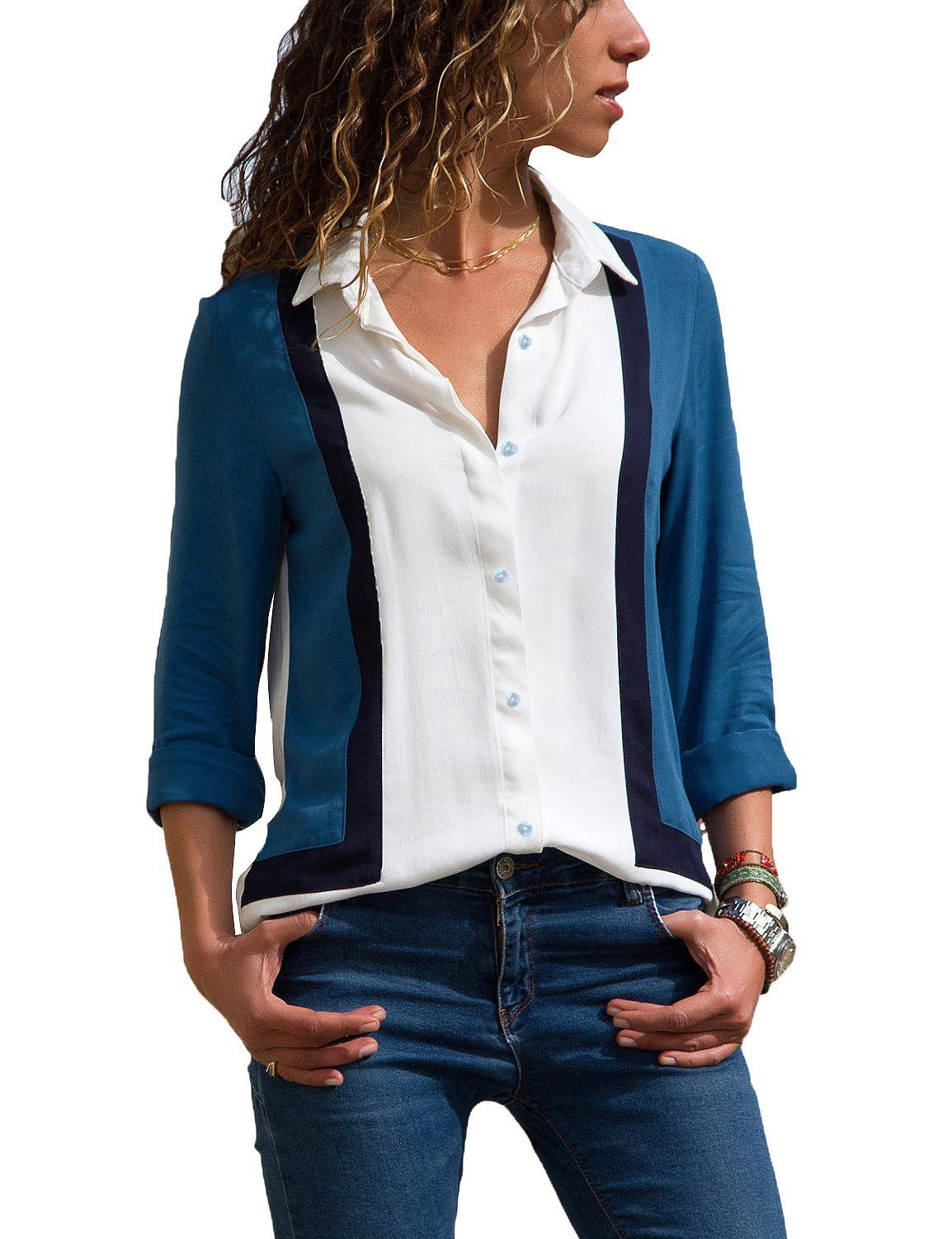 GRAPENT Women's Long Sleeve V Neck Stripe Shirt Casual Color Block Buttons Tops Blouse Medium (US 8-10)