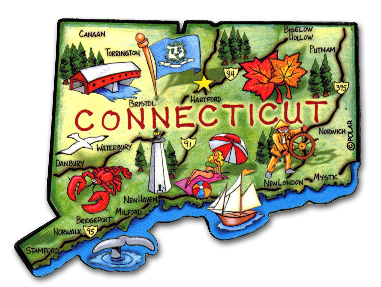 ARTWOOD MAGNET - CONNECTICUT STATE MAP