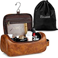 Elviros Toiletry Bag, Mens Leather Travel Organizer Kit with hanging hook, Large Water-resistant Toiletries Bathroom…