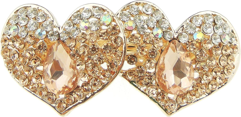 Glamour Girlz Pasador para el pelo con cristales de diamante de metal dorado para mujer, diseño de corazones (dorado)
