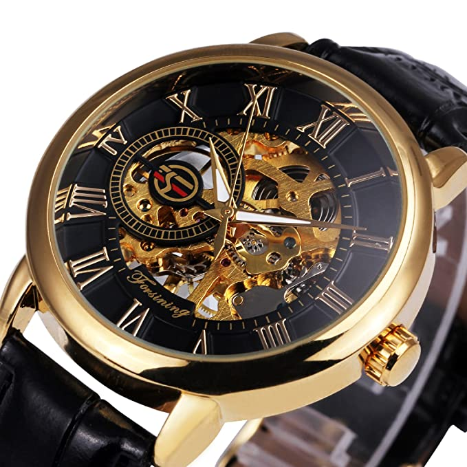 Review 2017 Caluxe Luxury Golden Men Mechanical Watch Royal Man Series Skeleton Roman Number Leather Band