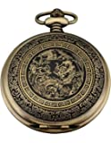 AMPM24 Bronze Men's Dragon & Phoenix Dangle Pendant Pocket Quartz Watch + Gift Chain WPK062
