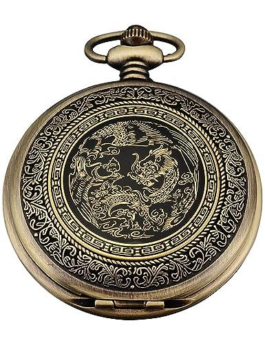 EASTPOLE WPK062 - Reloj de Bolsillo Cuarzo, Analš®gico, Caja Bronce, con Dibujos Animados: Amazon.es: Relojes