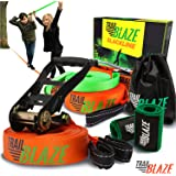 Slackline Kit with Training Line - Tree Protectors + Ratchet Cover - Complete Slack Line Kit Ideal for Family Outdoor Healthy Fun - Easy Setup 50ft Slacklines Balance Strap