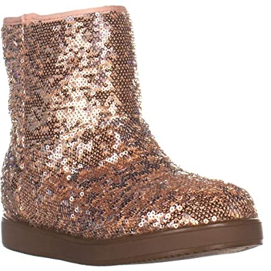 bb57b449762 G by GUESS Womens Asella Sequined Faux Fur Casual Boots