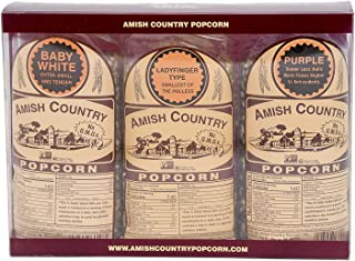 product image for Amish Country Popcorn | Variety Bundles - 3 (1 Lb Bags - Baby White, Ladyfinger, Purple Kernels) | Old Fashioned with Recipe Guide