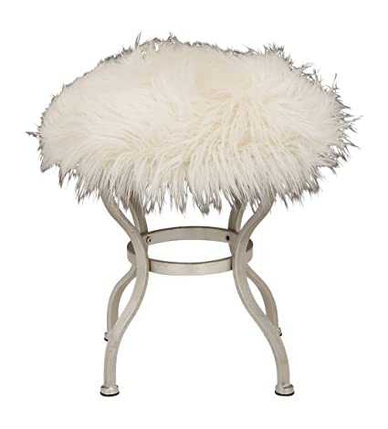 Outstanding Benzara 85472 Deco 79 Contemporary Round Wood And Metal Fur Stool With Curved Legs 21 H X 20 L Smooth White Finish Pabps2019 Chair Design Images Pabps2019Com