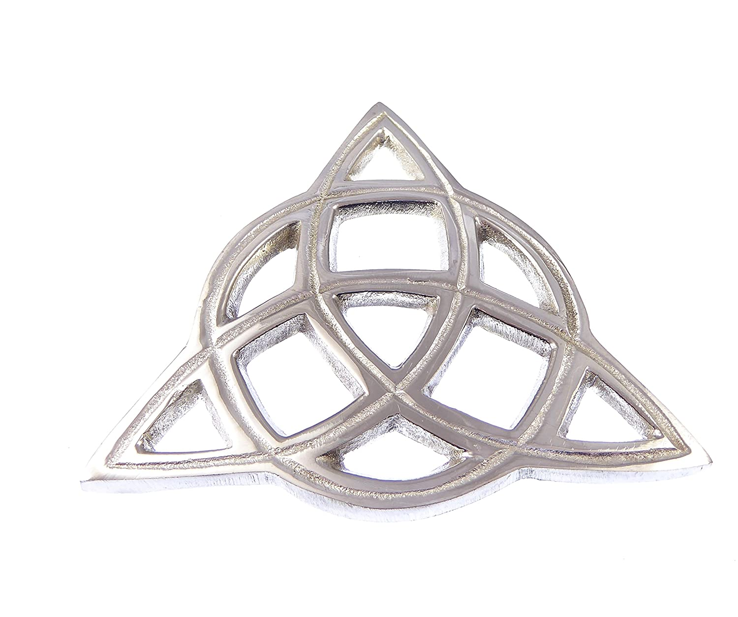 Elegant open-cut Triquetra altar tile silver plated brass 3