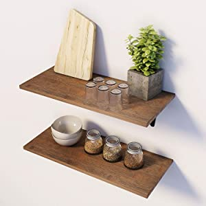 BAMFOX Floating Shelves Wall Mounted Shelf Set of 2, Natural Bamboo Wall Decor Storage Shelves for Bedroom, Bathroom, Kitchen, Living Room Brown L15.7 x W7.7