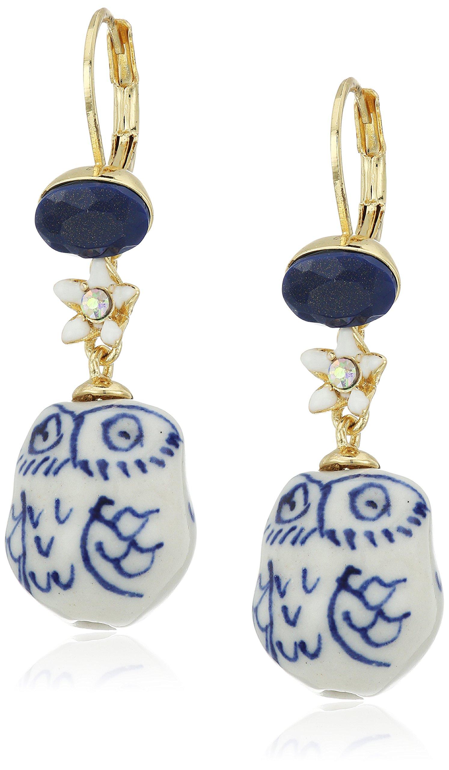 Betsey Johnson Betsey Blues Ceramic Owl Drop Earring