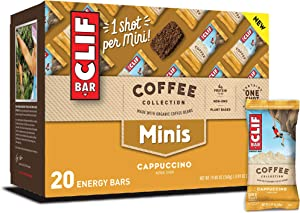 CLIF BARS Minis with 1 Shot of Espresso - Energy Bars - Cappuccino Flavor - 65 mgs of Caffeine Per Bar - Made with Organic Oats - Plant Based Food (0.99 Ounce Breakfast Bars, 20 Count)