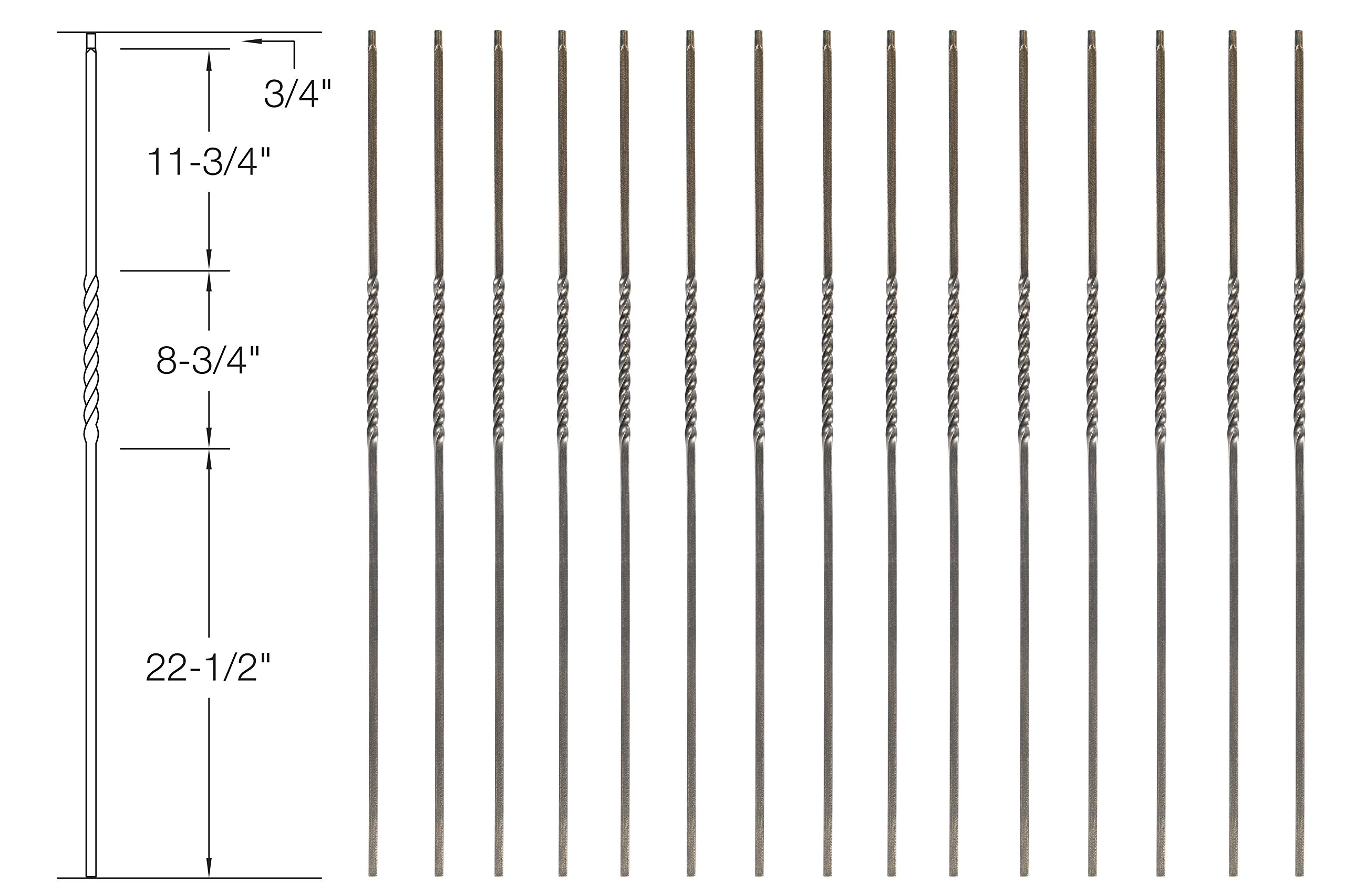 Iron Balusters - Single Twist - Hollow - 44'' Tall - 1/2'' Square - Box of 15 (Oil-Rubbed Bronze)