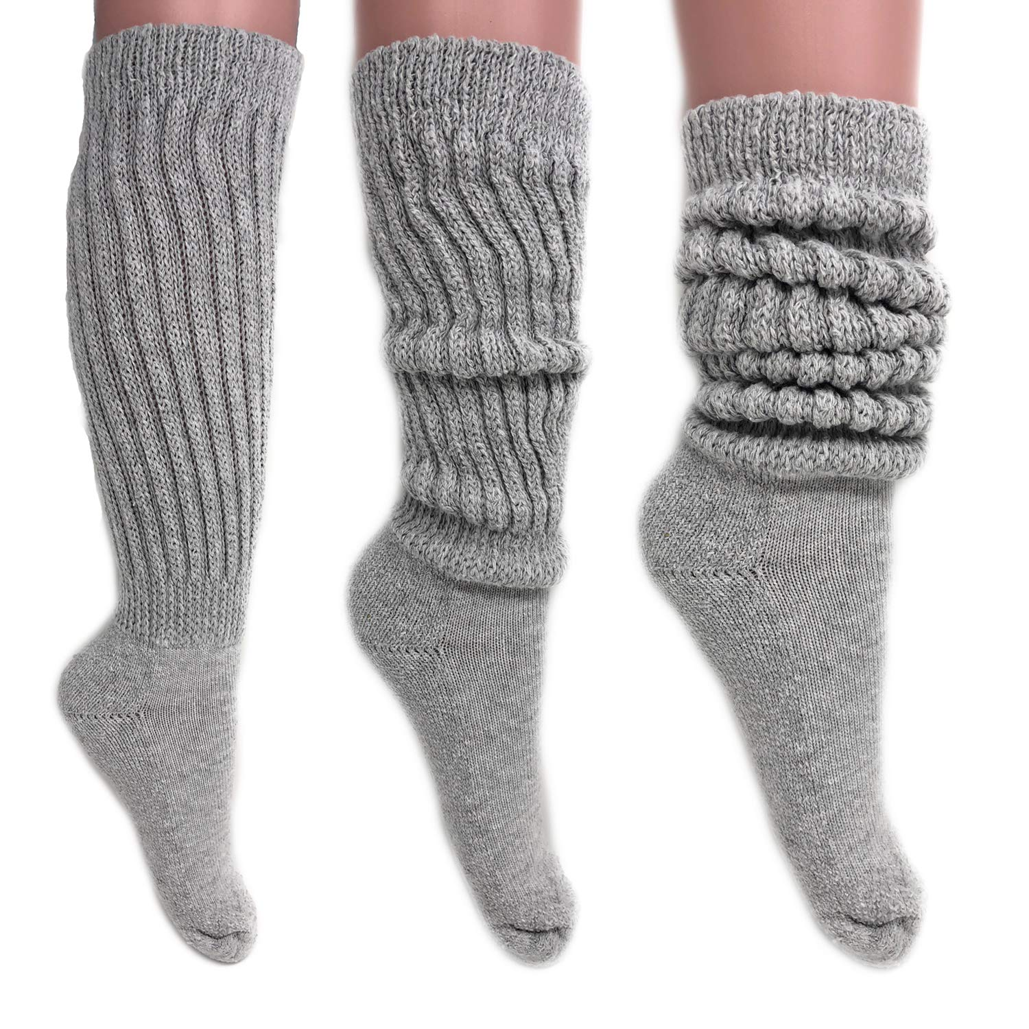 Women's Extra Long Heavy Slouch Cotton Socks Made in USA Size 9 to 11 (3 Pairs - Gray)