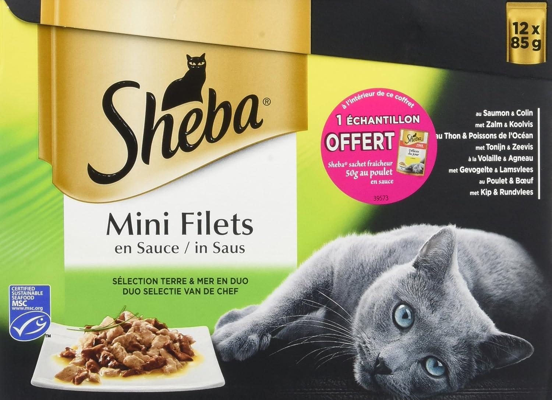 Sheba Double Délice Sachets fraîcheur aux Viandes et aux Poissons en Sauce 12x85g - Lot de 4 (48 Sachets fraîcheur)