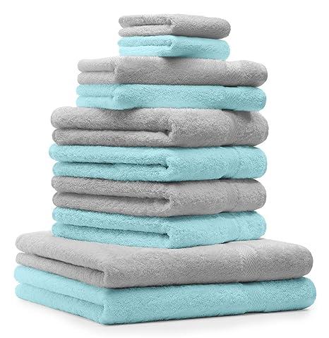 BETZ Juego de 10 Toallas Premium 100% algodón en Gris Plata y Turquesa