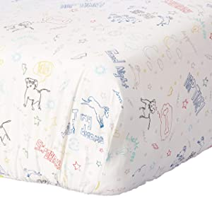 ED Ellen DeGeneres Doodle Dog - 100% Cotton Fitted Crib Sheet, All-Over Doodle Print, Ivory, Royal, Red, Yellow