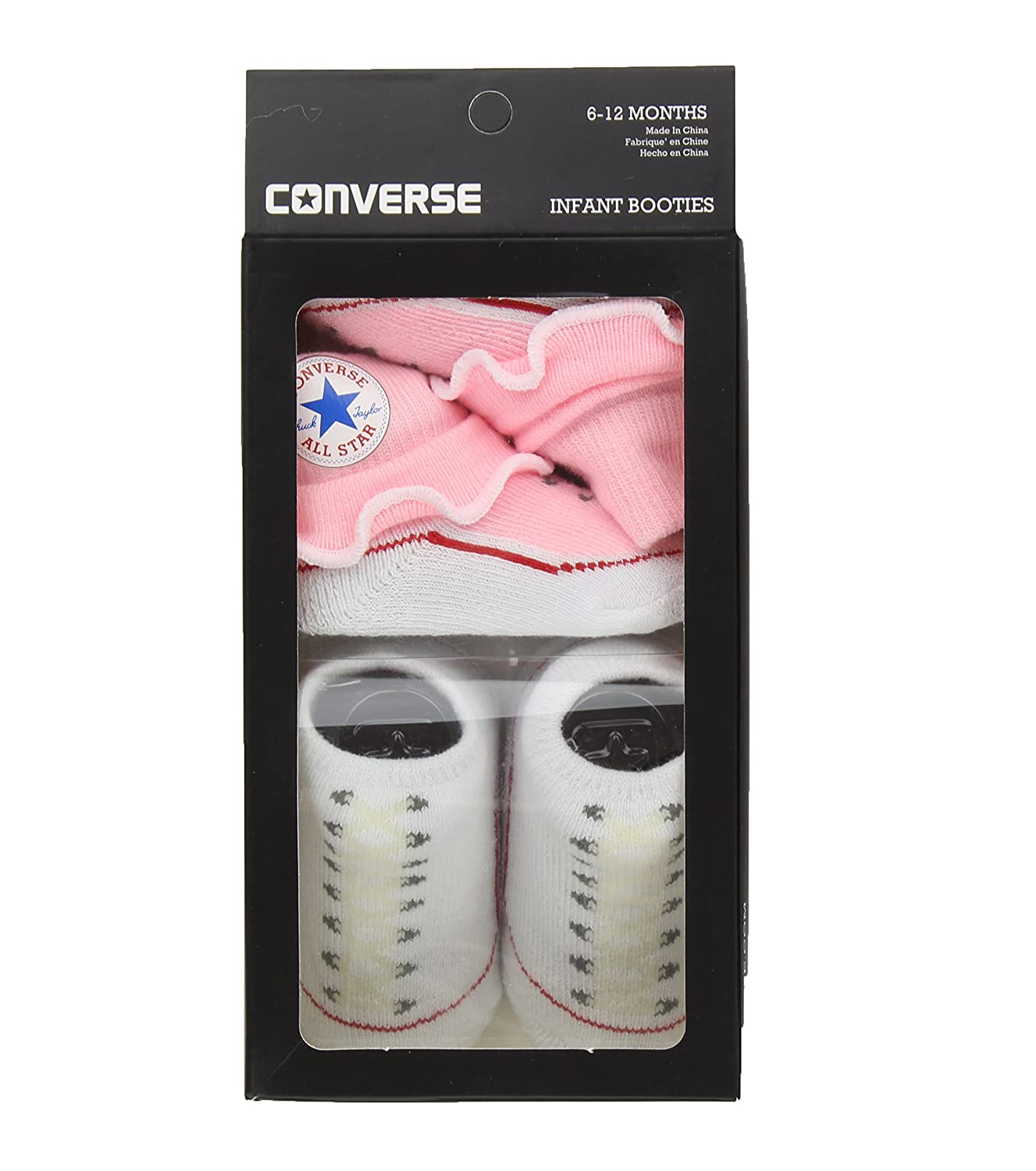 dee0e285fd33 Amazon.com  Converse Baby Booties Set for Infant Boys and Girls (0-6  Months)  Clothing