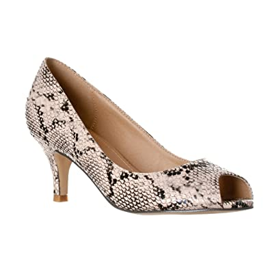 Amazon.com | Riverberry Women's Lydia Open Peep Toe Kitten Heel ...