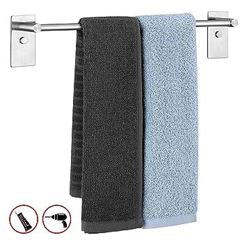 Amazon Brand: Umi. Essentials Toallero adhesivo de acero inoxidable 304, soporte de toallas, porta toallas para baño, cocina, adhesivo, fijación ...