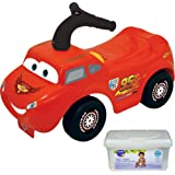 Kiddieland Disney Lightning Mcqueen Kids Ride On Push Car Toys for Toddler Boys with Baby Wipes