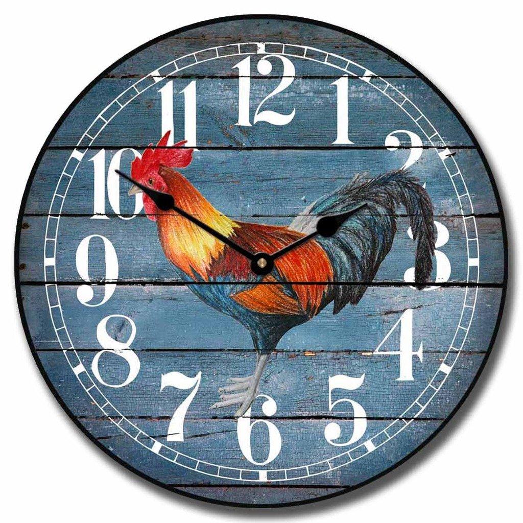 Barnwood Blue Rooster Wall Clock, Available in 8 Sizes, Most Sizes Ship 2-3 Days, Whisper Quiet.