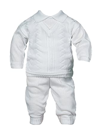 e749eb6c5 Boys 100% Cotton Knit Two Piece White Christening Baptism Outfit, 12 Month