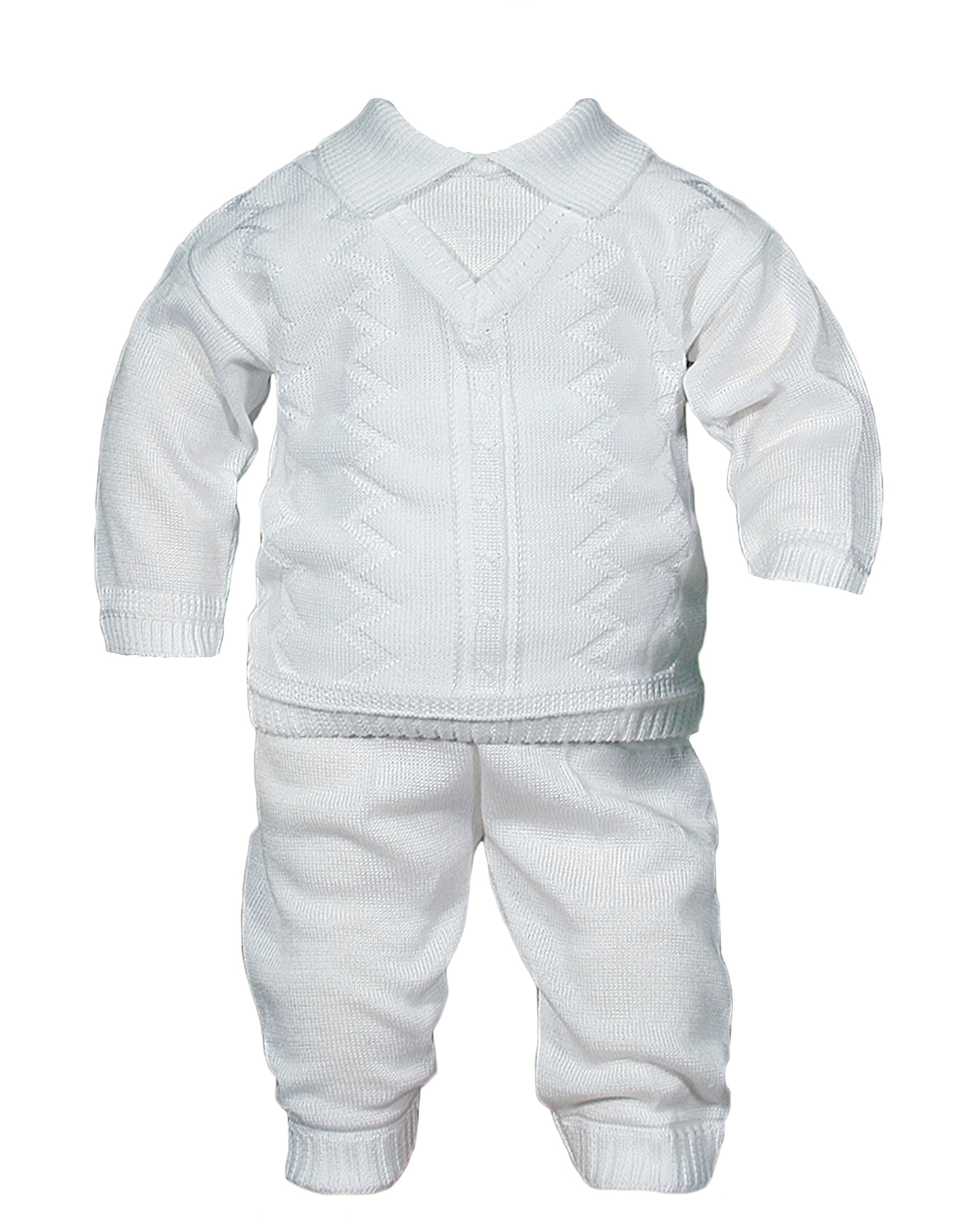 Boys 100% Cotton Knit Two Piece White Christening Baptism Outfit, 24