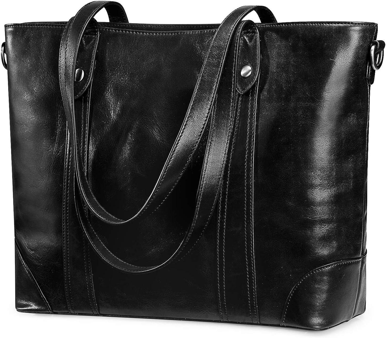 S-ZONE Women Large Work Tote Genuine Leather Shoulder Bag Handbag Purse
