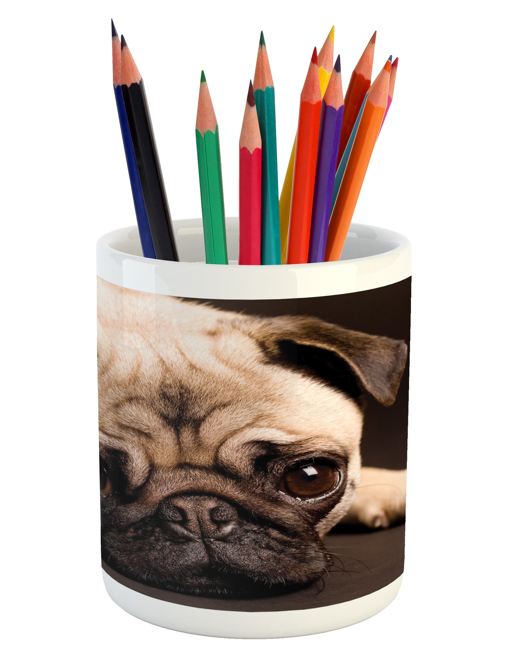 Ambesonne Pug Pencil Pen Holder, Cute Photograph of a Pug with Its Little Paws Pure Bred Dog Image Animal Fun, Printed Ceramic Pencil Pen Holder for Desk Office Accessory, Brown Pale Brown