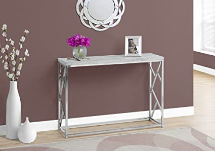 Monarch I 3377 Console Table Grey Cement With Chrome Metal