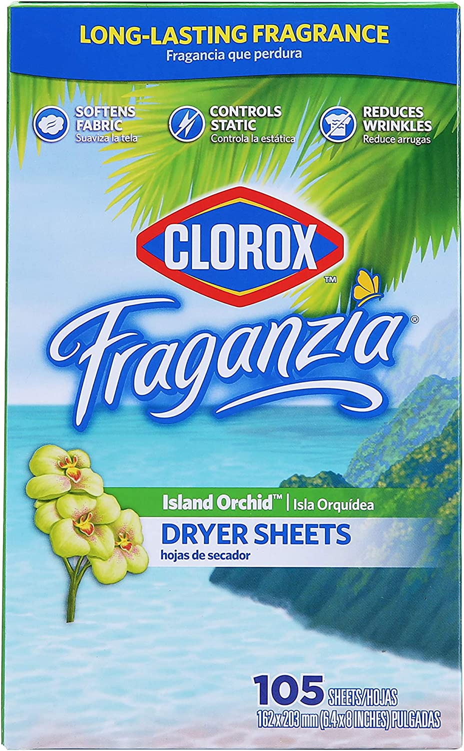 Clorox Fraganzia Fabric Softener Dryer Sheets | Scented Laundry Dryer Sheets for Great Smelling Clothes | Island Orchid Scent Laundry Sheets, 105 Count
