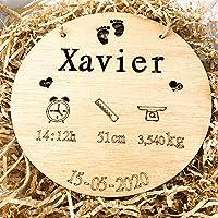 birth plate birthday Natalicio, Placa nacimiento bebé personalizada redondo madera de haya 20cm de diametro hecho a mano…