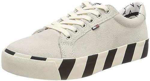 Hilfiger Denim Tommy Jeans Suede Sneaker, Zapatillas para Mujer, Blanco (Ice 101), 38 EU Tommy Jeans