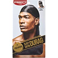 RED BY KISS Premium Silky Satin DURAG Men's Cap Doo RAG (Black)