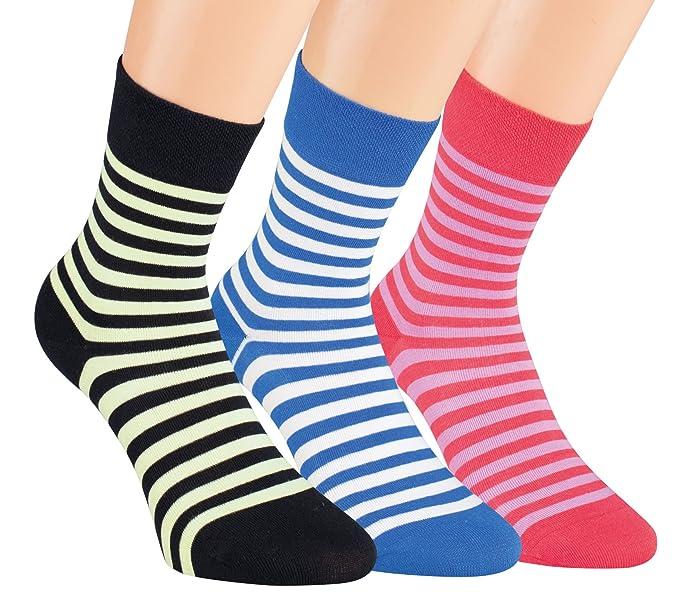 Vitasox 11909 señoras calcetines calcetines a rayas de algodón de colores sin goma sin costura 12